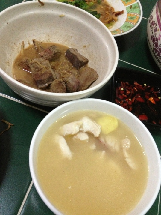Cooked liver and Fish with Green Papaya Soup!
