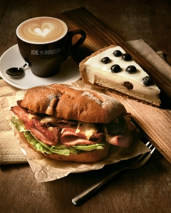 Coffee, sandwich and pastries are serious stuff at Joe & Dough. Tantalising much?  Photo: Joe & Dough