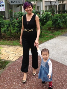 Julia looking svelte in nursing-friendly jumpsuit from Milk und Mayhem! Ain't little Erin such a sweetie?